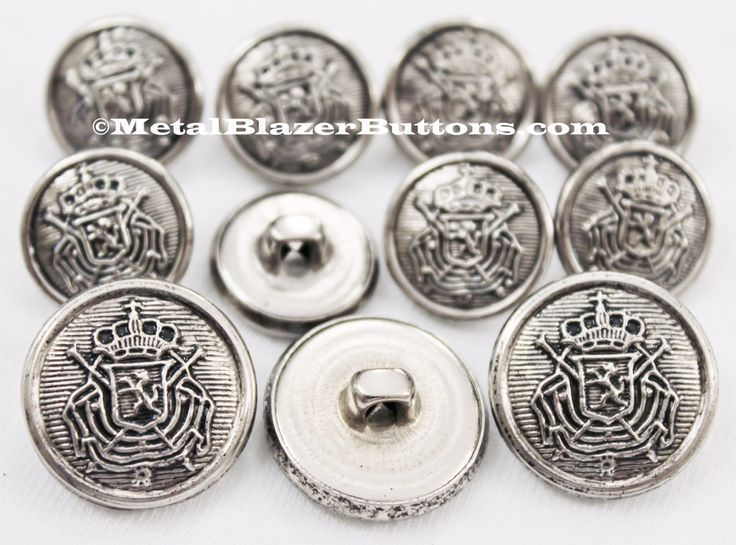 MetalBlazerButtons.com~ Silver Heraldic Shield Metal Sport Coat