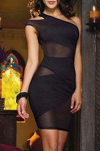 Siyah Tek Omuz Asimetrik Kesim Kıyafet