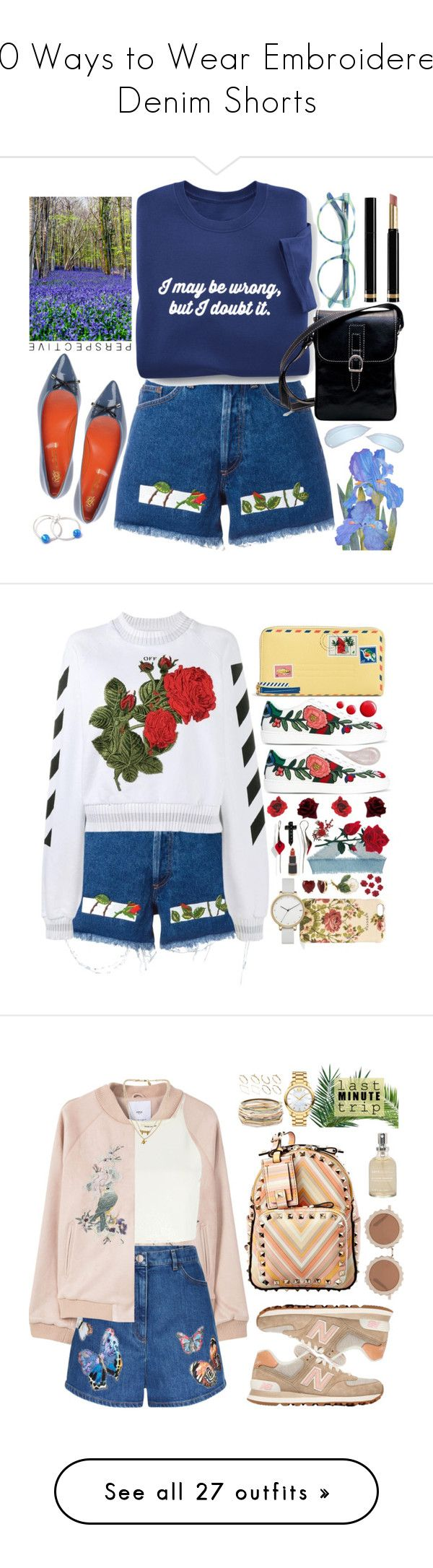 """""""20 Ways to Wear Embroidered Denim Shorts"""" by polyvore-editorial ❤ liked on Polyvore featuring waystowear, Embroideredshorts, Off-White, R&M, Saint-Honoré Paris Souliers, Gucci, Vera Bradley, Skagen, Betsey Johnson and Georgia Perry"""