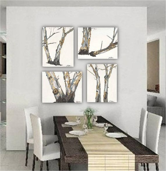 Large wall art set tree trunks gift him men white artwork for Dining room wall art canvas