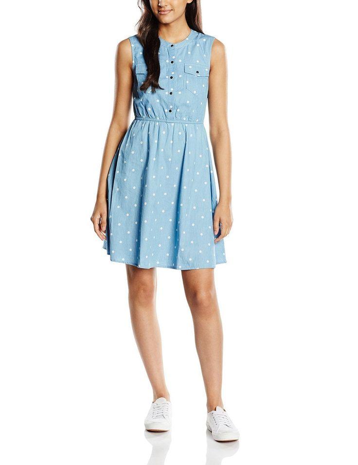 Vestido hipster mujer sin mangas con diseño denim en estampado de lunares, ideal para esta primavera - verano.