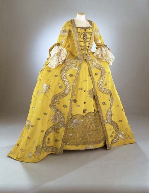 Overdress of a woman's 3 piece dress (robe à la française)  English  Silk extended tabby (gros de Tours) with liseré self-patterning and brocading in silver lamella and filé  circa 1750s  Rococo  Area of Origin: England (London, Spitalfields)