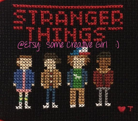 Handmade Cross Stitch of the kids from the TV show Stranger Things. Eleven (El), Mike, Dustin, & Lucas. The kids are approx. 4x3.5 on approx. 6x6in piece of Black Aida Cloth (14ct.) Unframed. Contact me with any questions. Thanks