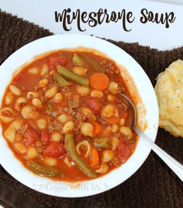 Minestrone Soup.  Simple and delicious dinner recipe.