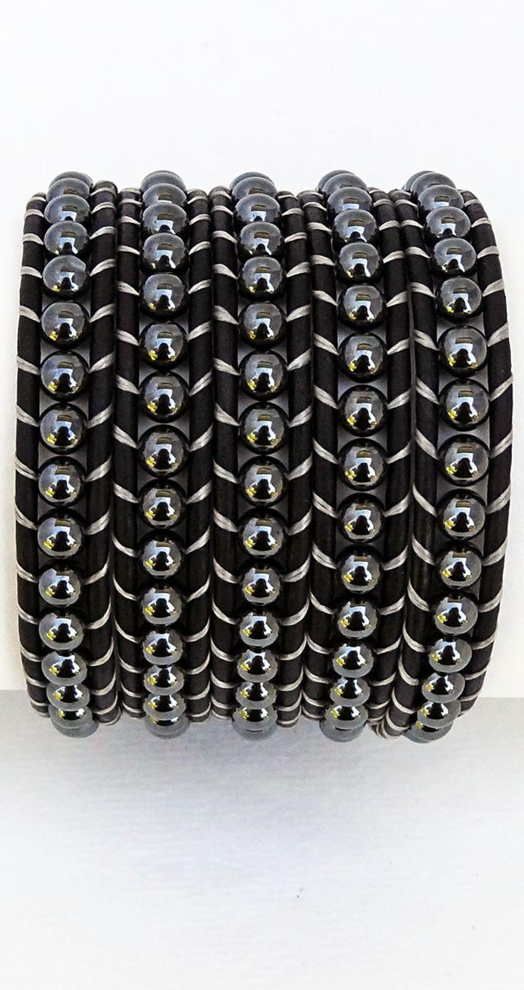 Hemalyke (imit. hematite) black leather wrap bracelet, 5x wrap