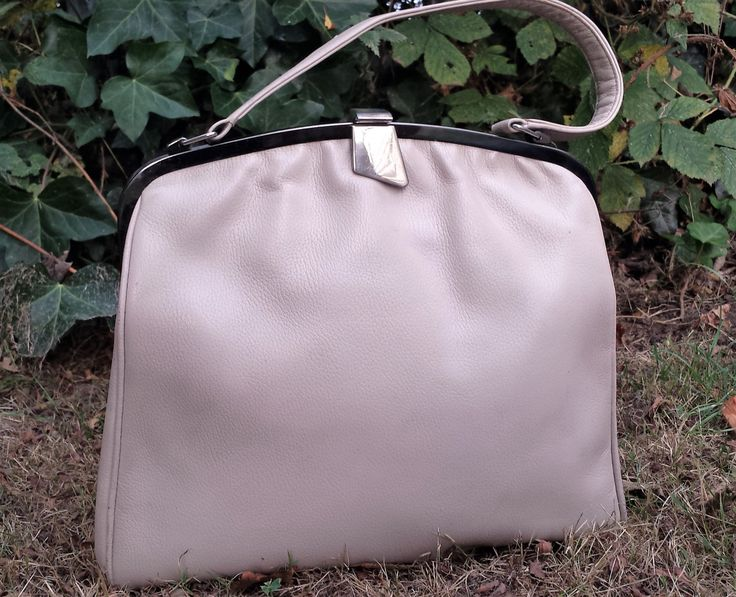 Vintage leather Kelly Bag, Off-white leather Kelly Bag, Large Kelly Bag, Light…