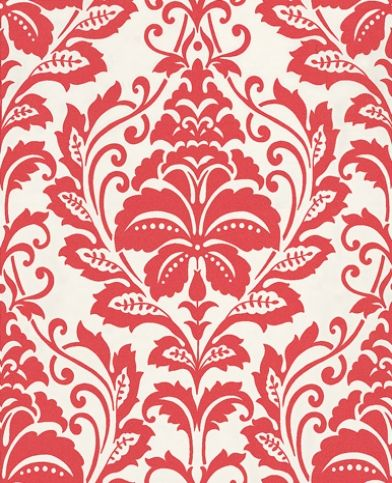 Albany Fashion (2554-64) - Albany Wallpapers - A pretty delicate leaf style floral damask design in contemporary red on white.  Please request sample for true colour match.