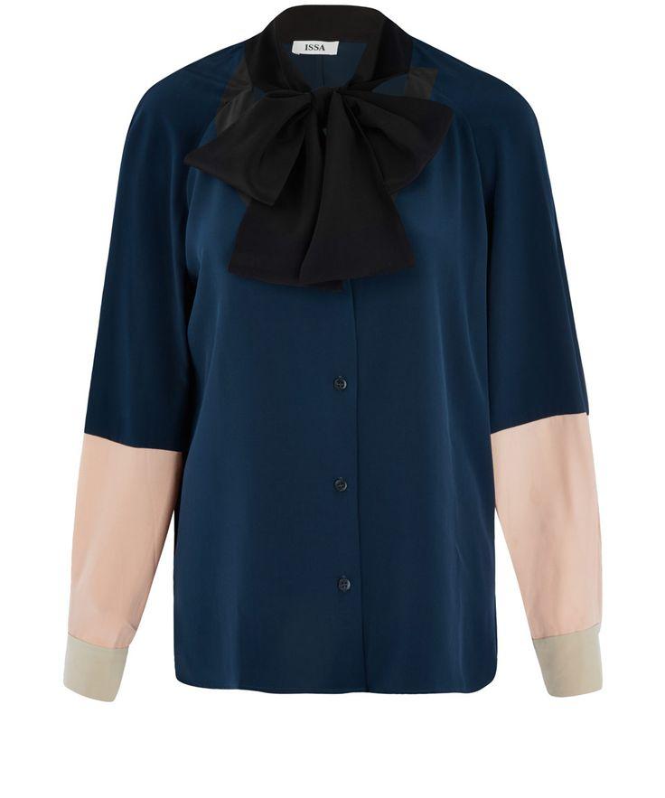 Issa Blue Erin Neck Tie Blouse | Women's Tops | Liberty.co.uk
