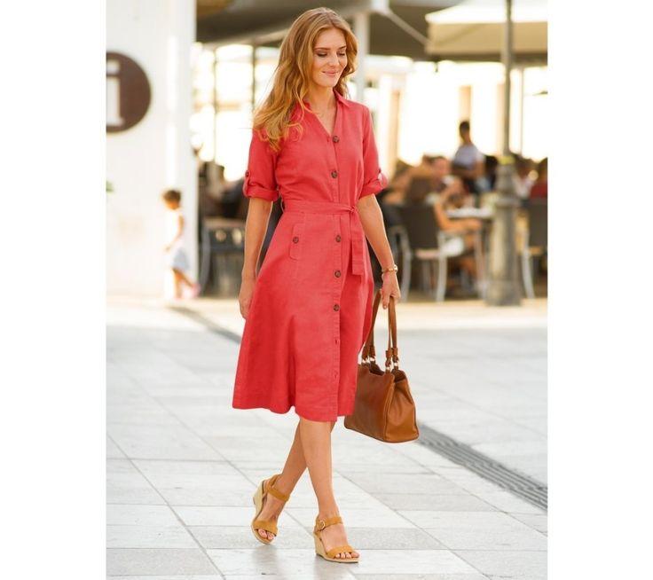 Košeľové šaty, bavlna a ľan | blancheporte.sk #blancheporte #blancheporteSK #blancheporte_sk #dress #saty