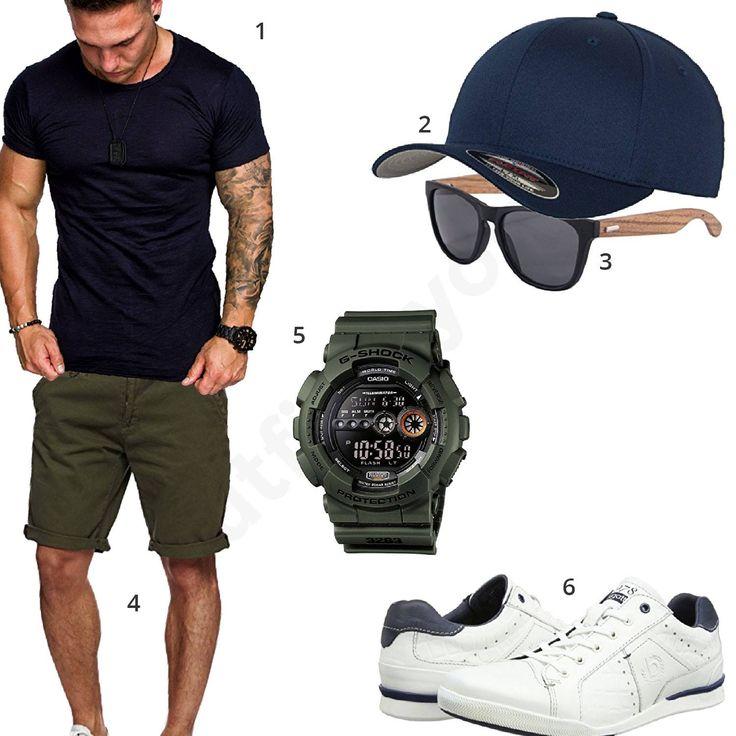 Herren-Style in Dark Navy und Khaki (m0343) #outfit #style #fashion #menswear #mensfashion #inspiration #shirts #weste #cloth #clothing #männermode #herrenmode #shirt #mode #styling #sneaker