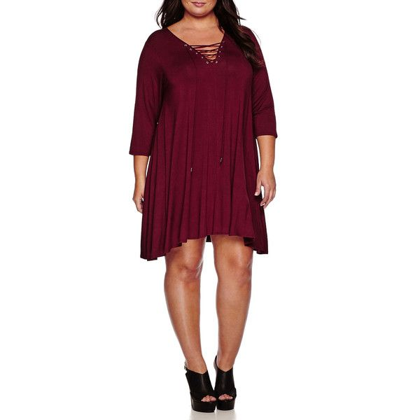 Boutique+™ Long-Sleeve Lace-Up Knit Dress ($50) ❤ liked on Polyvore featuring plus size women's fashion, plus size clothing, plus size dresses, plus size, boutique dresses, laced dress, knit dress, long sleeve v neck dress and lace up front dress
