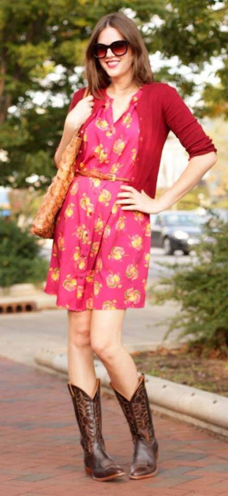 Red Cardigan Reddish Floral Dress Brown Boots Cowboy