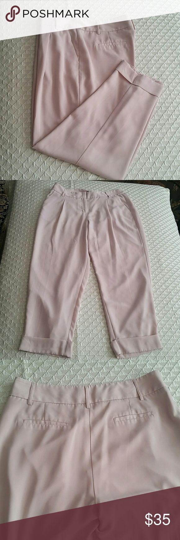 "NWOT JENNIFER LOPEZ PANTS Photos do not capture the beauty of these Fab pants! Nude easy care 100% Polyester feels like Silk. 2 side pockets, 2 back fake pockets. Fully lined.  Size 10 Lying flat waist 15.5"" Inseam 26"" Skinny Cuffed Leg 7"". Jennifer Lopez Pants"
