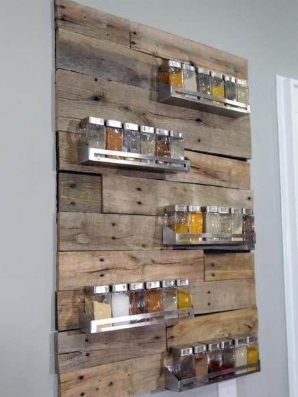 DIY : Palettes de chantier - palette wall spice rack