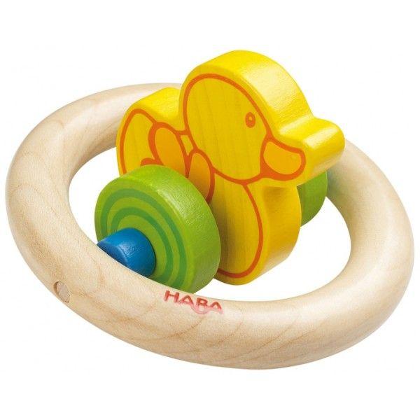 Haba 3717 - Drewniany, Bezpieczny Gryzak Kaczuszka - Zabawka dla Niemowlaka rekomendowana od 6 miesiąca życia