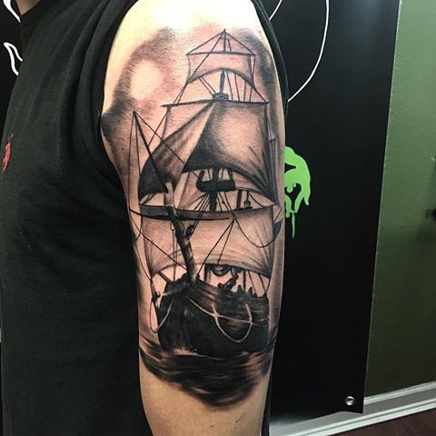 Clipper ship by Kris Ford! #tattoo #tattoos #blackandgreytattoos #ship #clippership #custom #art #ink #inked #maryville #knoxville #TN