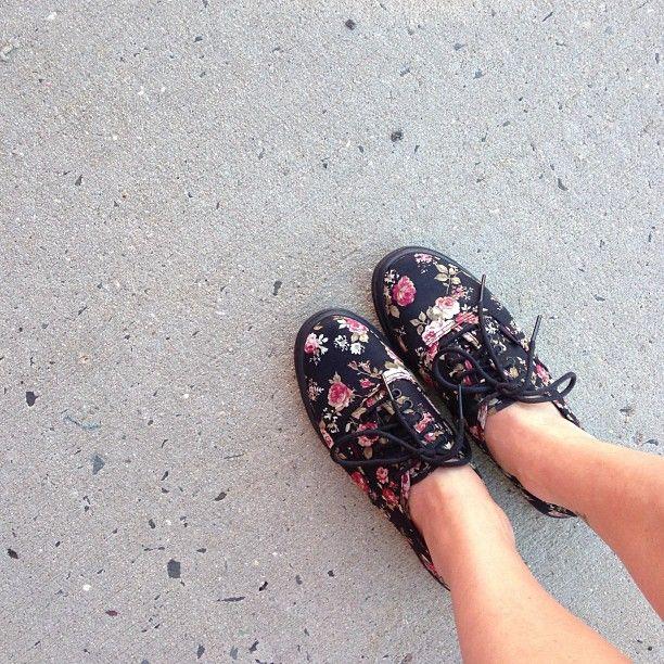 Instagram user @cristavizz   Vans Authentic Lo Pro - Flower power in jewel tones.