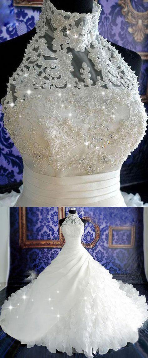 Organza de luxo cetim gola alta decote com babados vestido de noiva com …   – Wunderschön – wunderbar