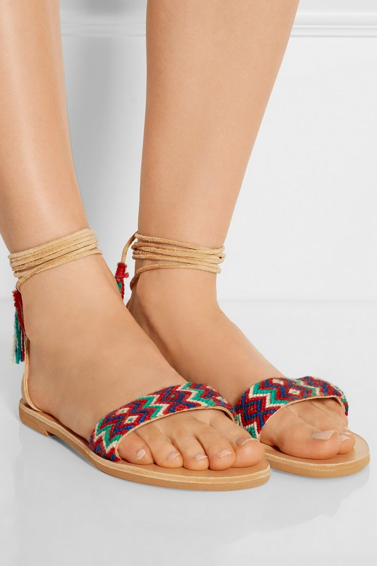 Elina Lebessi Greek Sandals! Now on net-a-porter!  Also available @ MELI Golden Hall !  http://www.net-a-porter.com/product/579481/Finds/-elina-lebessi-katerina-embroidered-leather-sandals