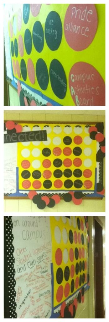 """""""Get Connected"""" a huge connect 4 board with student activities and organizations! RA"""