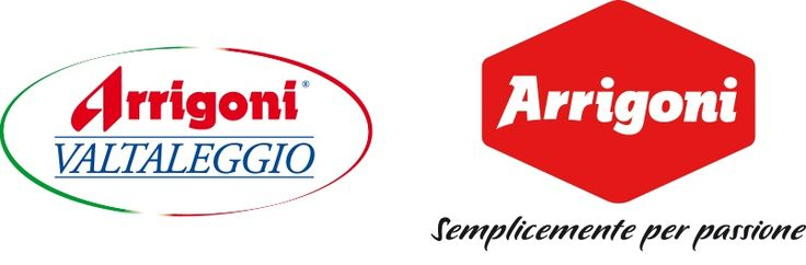 Arrigoni, Rebranding. The old mark side by side with the new one. The shape that encloses the logotype stems from the silhouette of a taleggio. The logo has been redesigned to be more modern but similar to the old one. Geographical origin (Valtaleggio) has been replaced by a more evocative tagline.