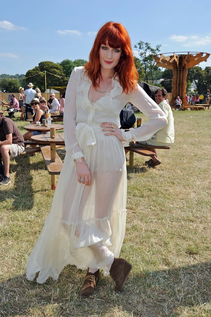 The Best-Ever Summer Music Festival Street Style - Gallery - Style.com Yes to booties with ethereal dress!
