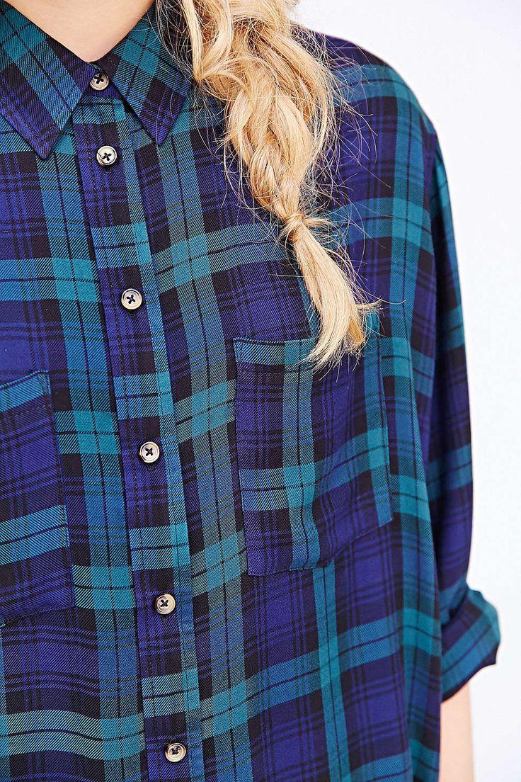 Bdg tartan plaid button down shirt urban outfitters for Green plaid button down shirt