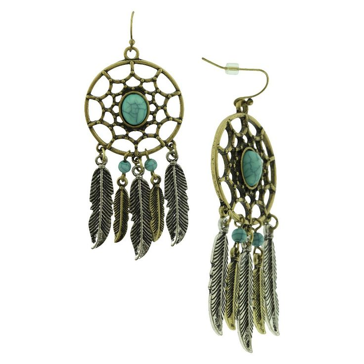 Women's Dangle Earring with Openwork Circle and Feather Casting Acrylic Stones and Beads - Gold/Turquoise