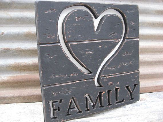 Rustic Family Wooden Sign Distressed Heart Wall Art by GSEartworks, $41.00
