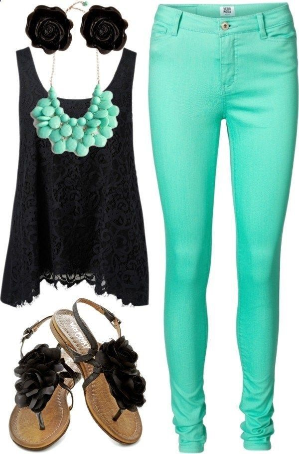 Black Lace Top Black Studs Turquoise Statement Necklace Turquoise Skinny Jeans Black Sandals