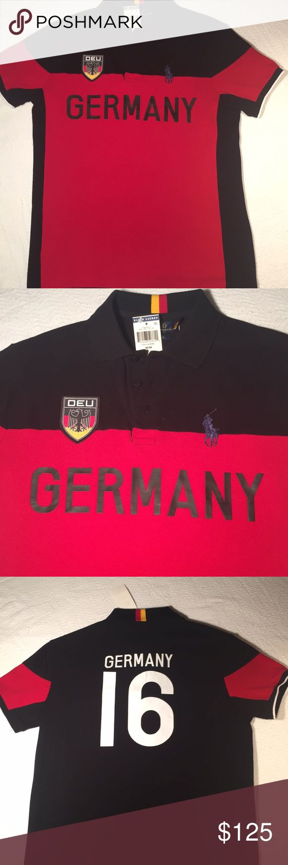 FINAL PRICE 💴POLO RALPH LAUREN COUNTRY COLLECTION MENS AUTHENTIC POLO BY RALPH LAUREN SHORT SLEEVE COUNTRY COLLECTION 👕🌎 NEW ! POLO BLKMU/ YELLOW/ BLACK/ NAVY/ SIGNATURE RL RED COLORWAY | 'DEU' EMBLEM ON THE RIGHT SIDE / LEFT SIDE DISPLAYS NAVY BIG PONY LOGO/  #16 ON THE BACK OF THE POLO SHIRT WITH 🇩🇪 FLAG COLORS ON THE COLOR • A GREAT PIECE OF THE COUNTRY POLO COLLECTION 🎁A GREAT GIFT!! Get this piece history today! SUPER RARE EDITION 💎 Polo by Ralph Lauren Shirts Polos