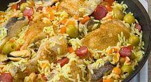 Рецепт - Паэлья с курицей и рыбой