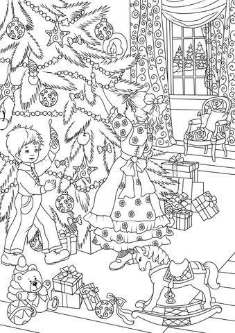 A Little Brother is Helping Her Little Sister to Decorate the Christmas Tree coloring page from Christmas Tree category. Select from 26202 printable crafts of cartoons, nature, animals, Bible and many more.