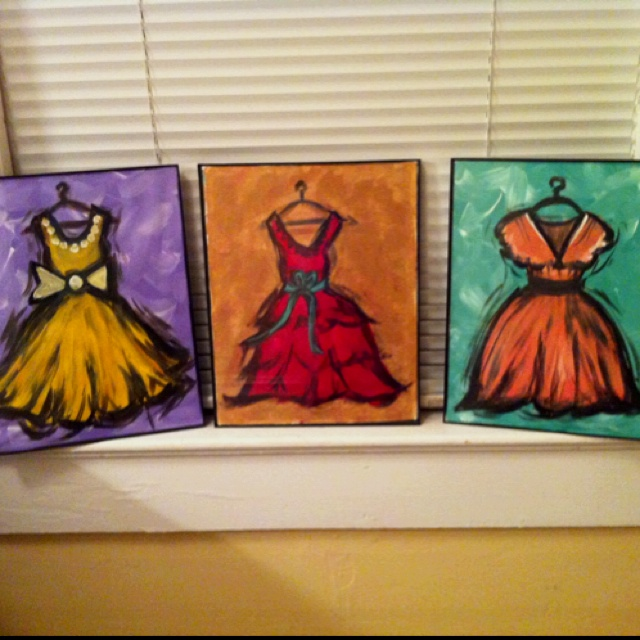 "Painted dresses to hang in my ""getting ready room"""