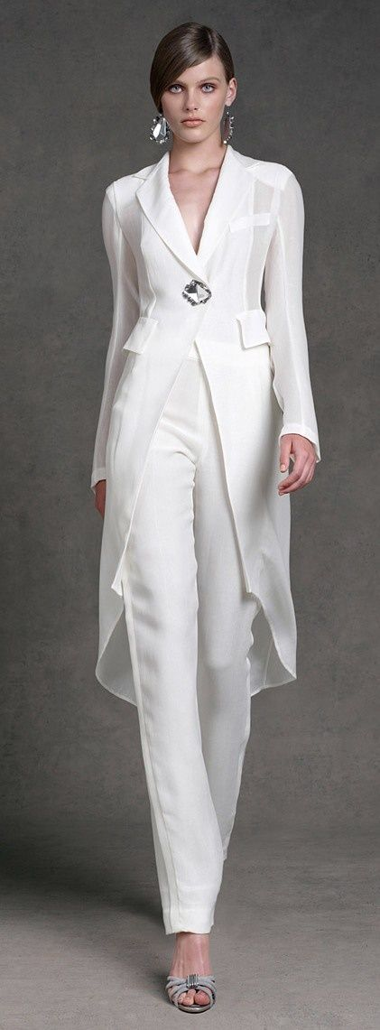 Wedding dress suit by donna karan resort 2013 lesbian for Wedding dress pant suits