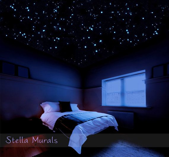 Realistic glow in the dark star stickers for a 3D DIY star ceiling. 400 - 1000…