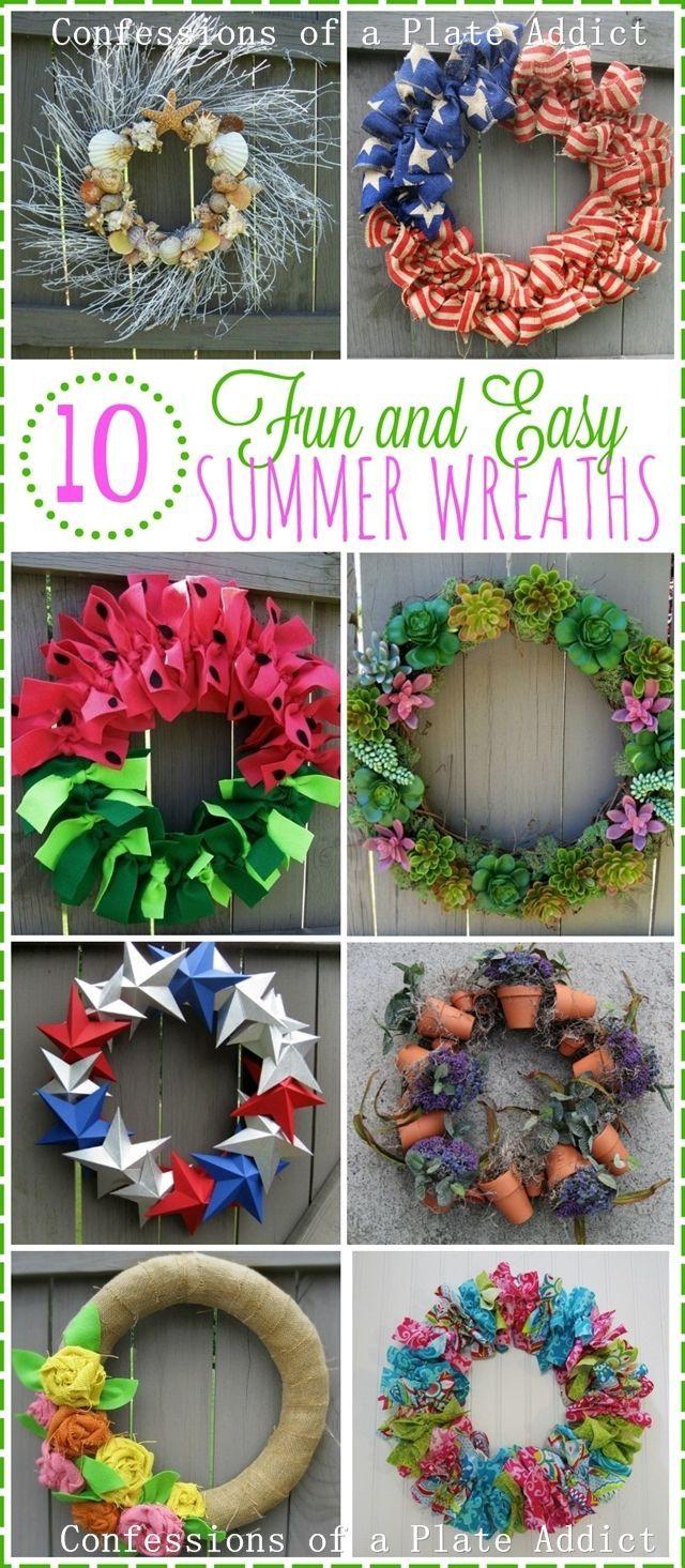 Ten Fun and Easy Summer Wreaths