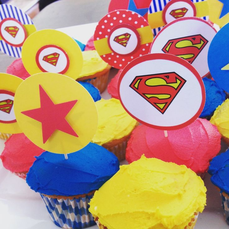 Superman Party Cupcake Toppers