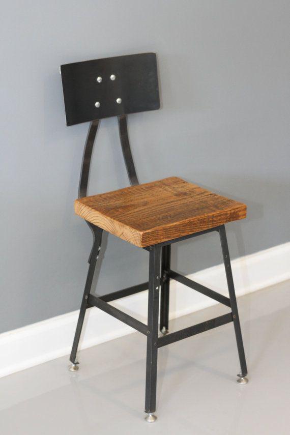 Urban Wood Industrial Reclaimed Industrial Bar Stool w/ Steel Back - FREE SHIPPING - Industrial Modern - Salvaged Wood