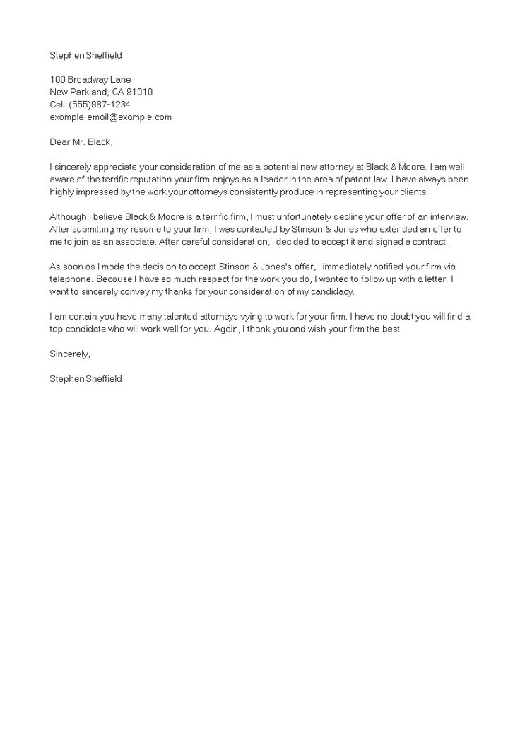 Interview offer decline letter how to create an