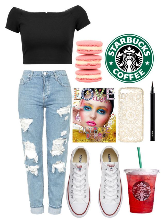"""""""Starbucks time"""" by emily-2024099 ❤ liked on Polyvore featuring Alice + Olivia, Topshop, Converse, MAC Cosmetics, John Galliano and caffeine"""