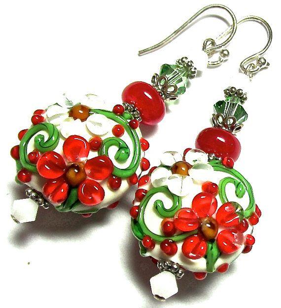 Artisan Lampwork Beads Christmas Flower Earrings by SeeMyJewelry, $39.00