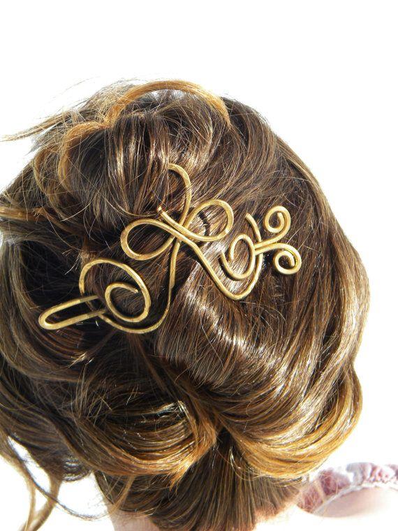 Gold Hair Brooch Bridal Hair Brooch Cross Hair by ElizabellaDesign, $25.00
