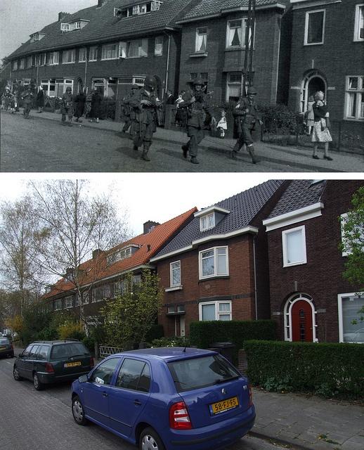 Ghosts of War - Allied soldiers walking towards center of Eindhoven, September 18th 1944, Frankrijkstraat Eindhoven - Then Now by juffrouwjo, via Flickr