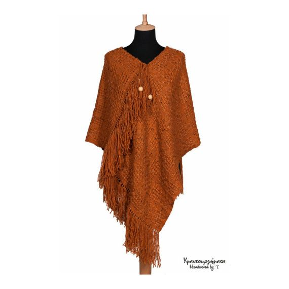 HANDWOVEN WOOL PONCHO handmade shawl women by HandwovenByT on Etsy