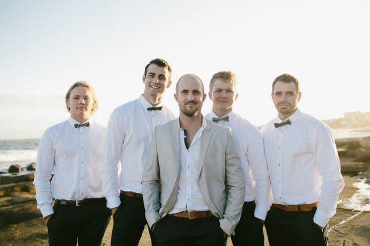 Coastal bohemian inspired wedding. Groom. Groomsmen.  Grey suit. Casual groom. Best day ever