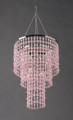 """This beautiful pink beaded chandelier looks like its made of real crystals but its acrylic... It measures 26"""" long from the hanger at the top.. 10.25"""" in diameter.. 12"""" long beading.. 14"""" chain.. Ligh"""