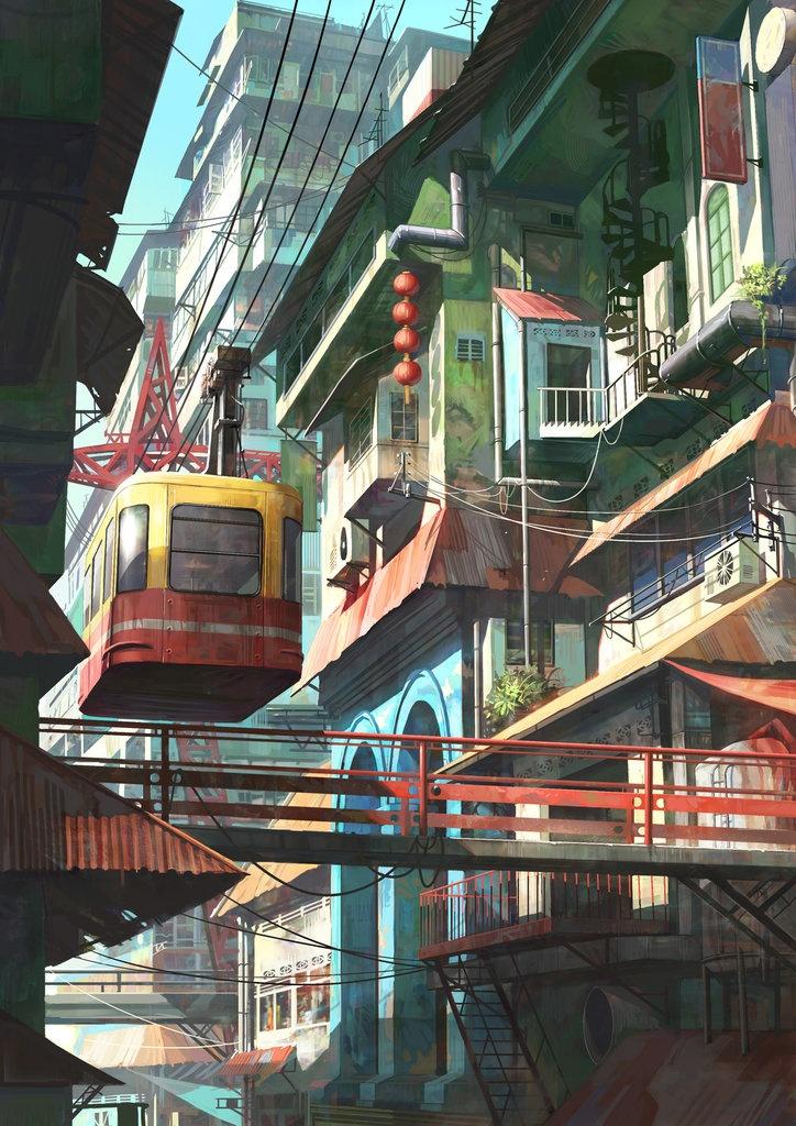 .Artists, Cable Cars, Modern Art, Animal Art, Chong Feigiap, Concept Art, Illustration, Digital Art, Old Town