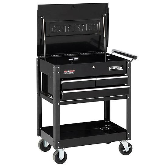 #sears Craftsman 3-Drawer Ball-Bearing GRIPLATCH® Utility Cart - Black - $199.96 (save 43%) #sears #dailydeals #tools