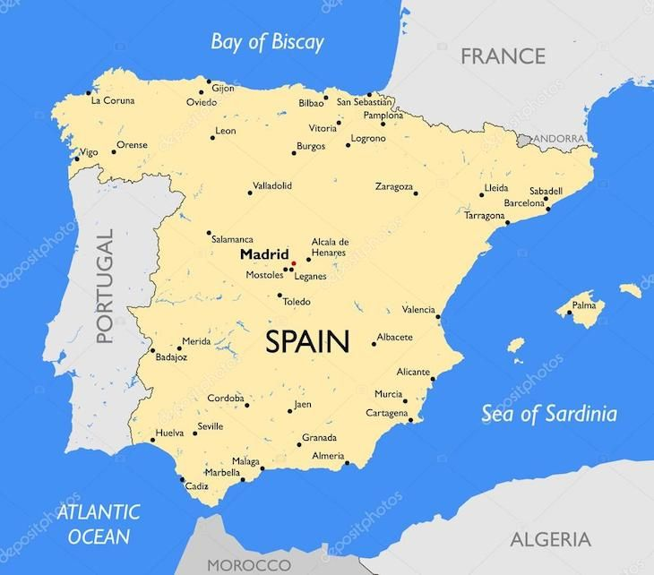 Mapa De Espanha E Principais Cidades Espanha E Cidade